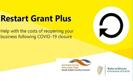 SDCC now receiving applications for Restart Grant Plus Scheme . Grants of up to €25,000 available to help businesses re-open sumamry image